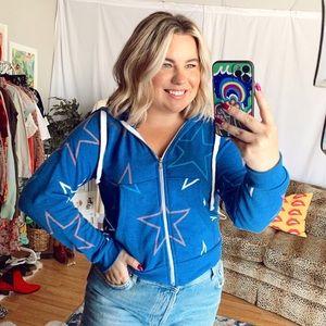 NWT wildfox blue star print zip up hoodie